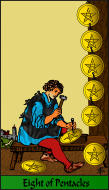 The RWS-Rabbi's Tarot  Eight Pentacles p08gateway