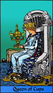 The RWS-Rabbi's Tarot  Queen Cups c13gateway